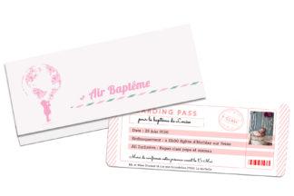 Faire part billet d'avion - Pochette et carte d'embarquement